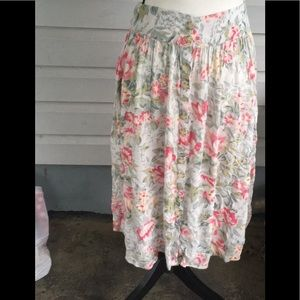 Ecote Pink Floral Midi Skirt from UO Size M
